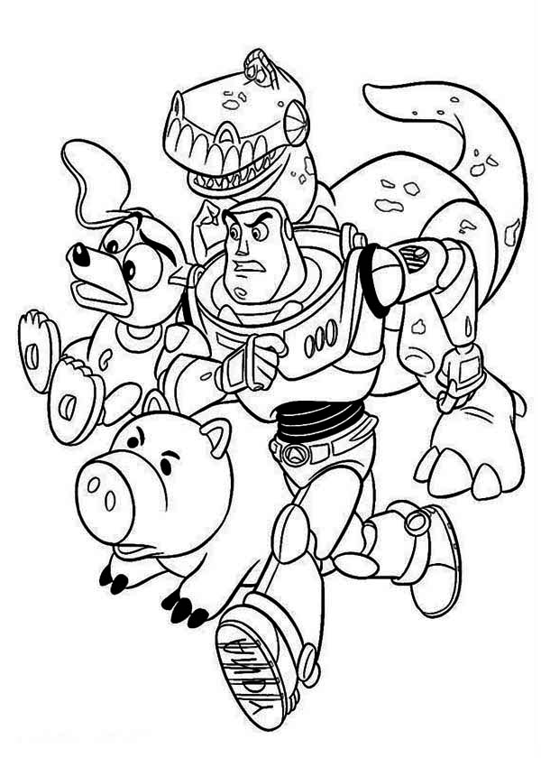 Buzz Rex Slinky Dog and Mr Potato Head in Toy Story Coloring