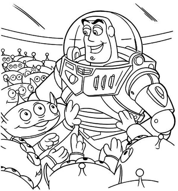 buzz and a bunch of little green men in toy story coloring page - Buzz Lightyear Face Coloring Pages