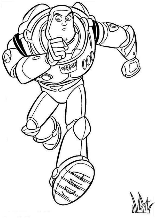 Buzz Is Running To Save Woddy In Toy Story Coloring Page