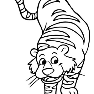 Cartoon Illustration of a Tiger Coloring Page