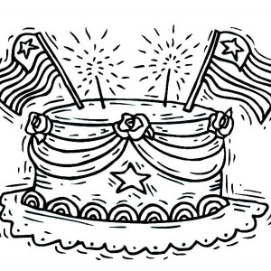 celebrating presidents day with cake coloring page