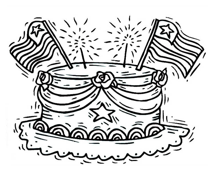 celebrating presidents day with cake coloring page download