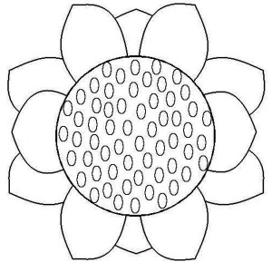 close up sunflower coloring page