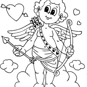 Cute Little Cupid is Prepared for Valentine's Day Coloring Page