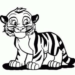 Cute Tiger Cub in Cartoon Coloring Page