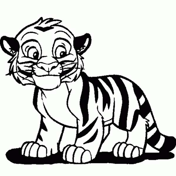 Cute Tiger Cub in Cartoon Coloring Page - Download & Print Online ...