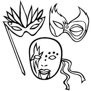 Different Types of Mardi Gras Mask Coloring Page