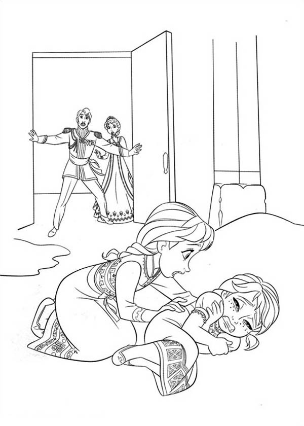 Elsa Accidentally Struck Anna While Playing Coloring Page Download