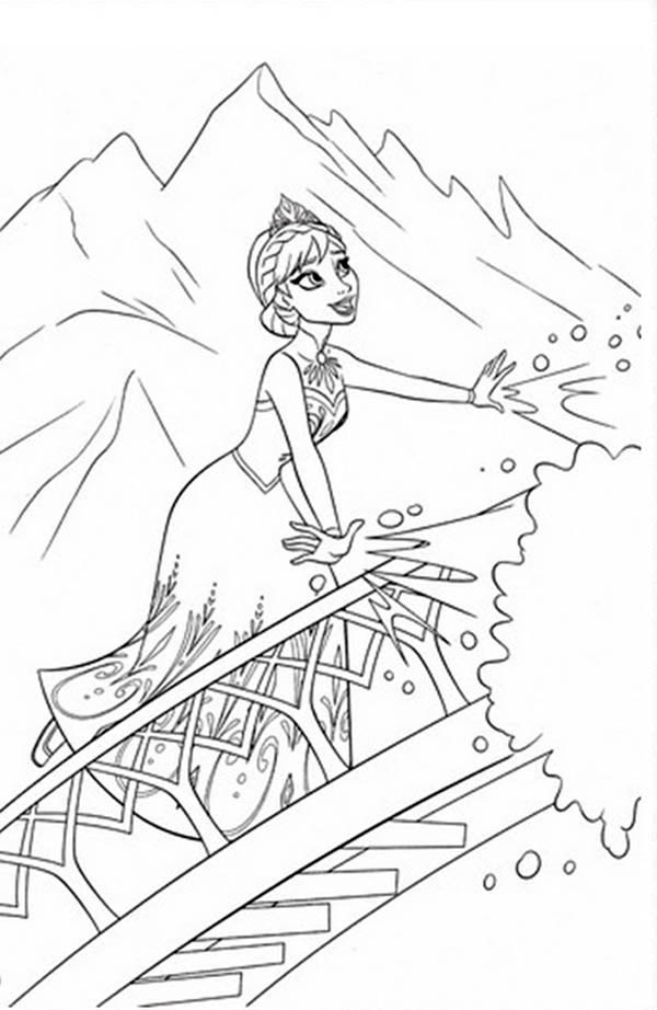 Elsa Making Snow Using Her Magic Power Coloring Page