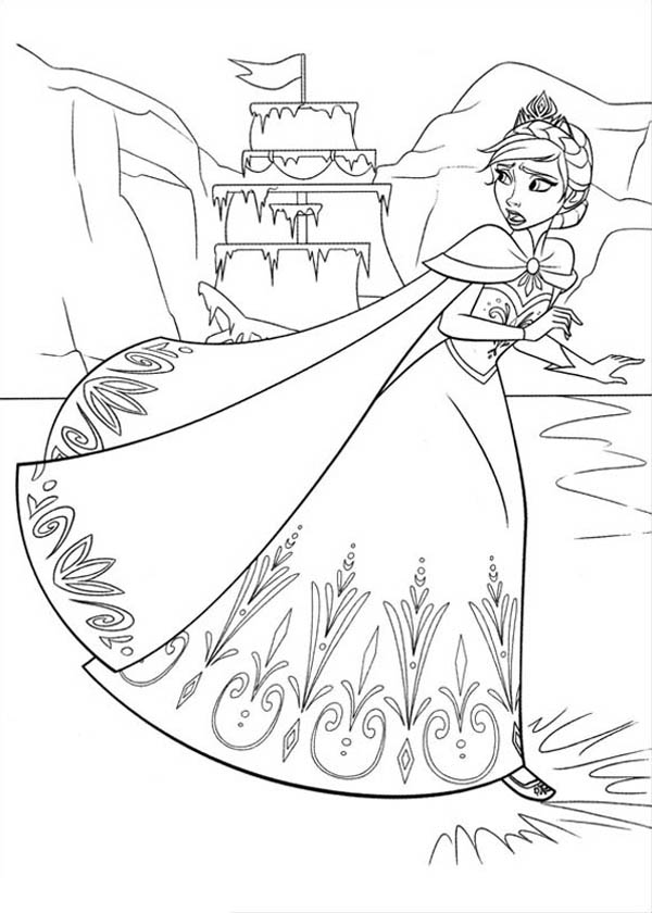 Frozen Elsa Running On The Lake Coloring Page