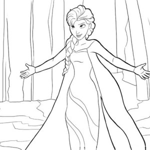 Elsa Running on the Frozen Lake Coloring Page Elsa Running on the