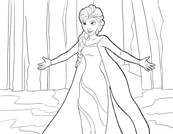 Frozen Elsa The Snow Queen Giving Hug Coloring Page