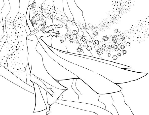 Elsa the Snow Queen Showing Her Magic Coloring Page Download