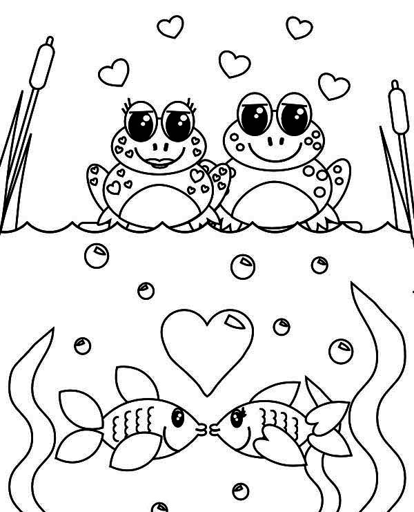 Even Frogs And Fish Is Celebrating Valentineu0027s Day Coloring Page