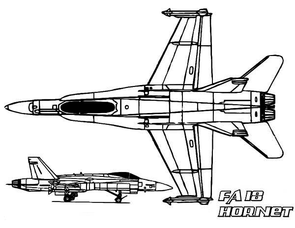 FA 18 Hornet jet fighter Airplane Coloring Page - Download & Print ...
