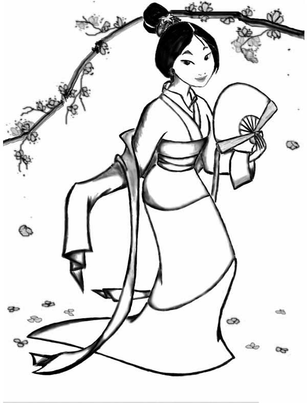 Fa Mulan In Her Classic Chinese Dress Coloring Page