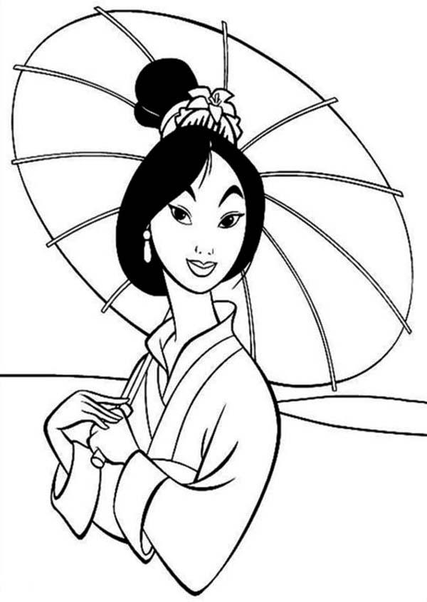 Fa Mulan in Traditional Chinese Dress Coloring Page: Fa Mulan in ...