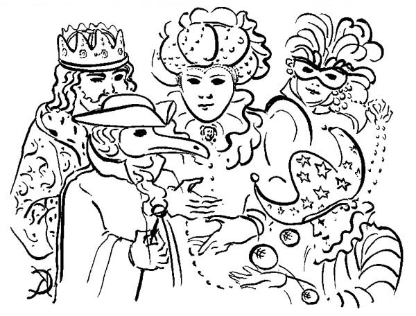 Five Common Characters in Mardi Gras Parade Coloring Page