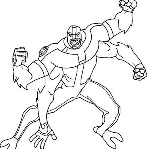 Four Arms Attacking Position Coloring Page