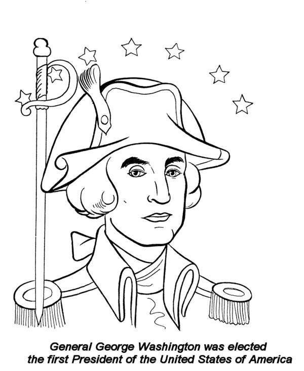 General George Washington On Presidents Day Celebration Coloring Coloring Page Of George Washington