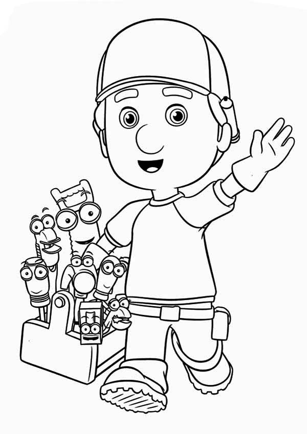 greeting from handy manny and friends coloring page - Handy Manny Colouring Pages