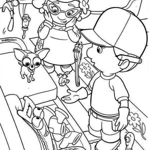 Handy Manny And Friends Helping Mrs Portillo Coloring Page