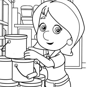 handy manny handy manny kelly and stack of bucket coloring page handy manny kelly - Handy Manny Hammer Coloring Pages