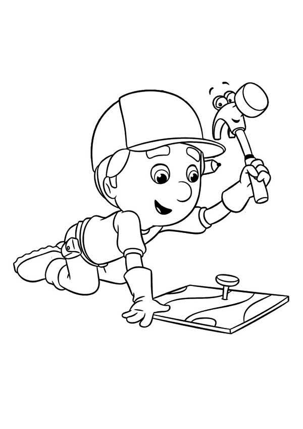 handy manny handy manny using pat the hammer coloring page handy manny using pat - Handy Manny Hammer Coloring Pages