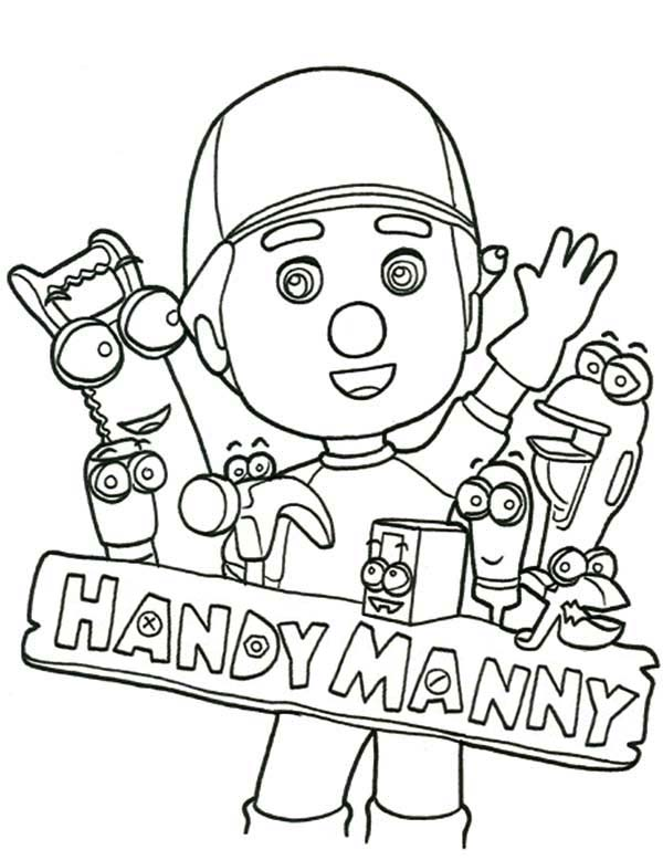 handy manny ad friends say hello coloring page - Handy Manny Colouring Pages