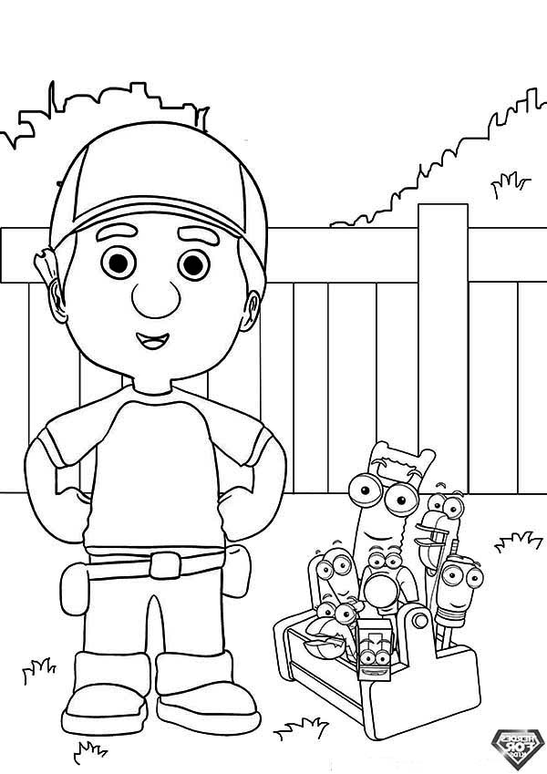 handy manny and friends taking a picture coloring page - Handy Manny Colouring Pages
