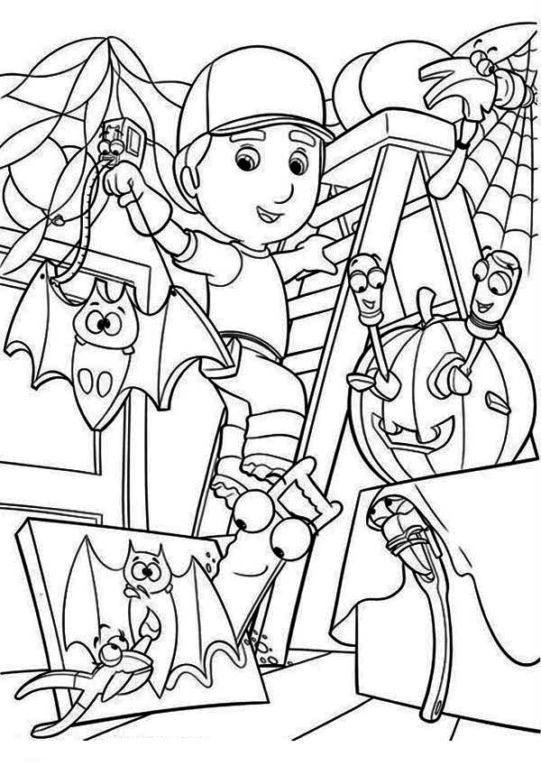 handy manny handy manny and helloween theme coloring page handy manny and helloween theme - Handy Manny Colouring Pages