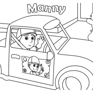 handy manny and his car coloring page - Handy Manny Hammer Coloring Pages