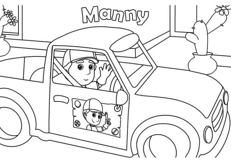 Handy Manny And His Car Coloring Page