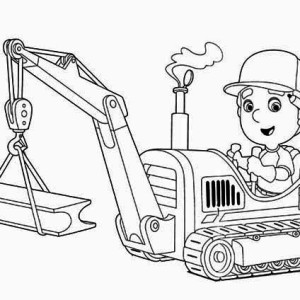 handy manny and tractor coloring page