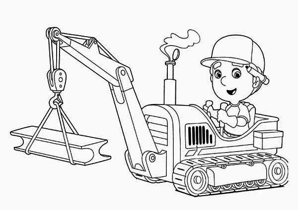 Handy manny and tractor coloring page download print for Tractor coloring pages to print