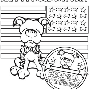 Happy Presidents Day Say the Pitbull Coloring Page