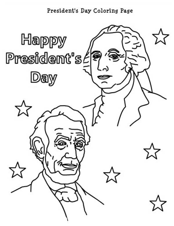 happy presidents day with lincoln and washington coloring page - Presidents Day Coloring Pages