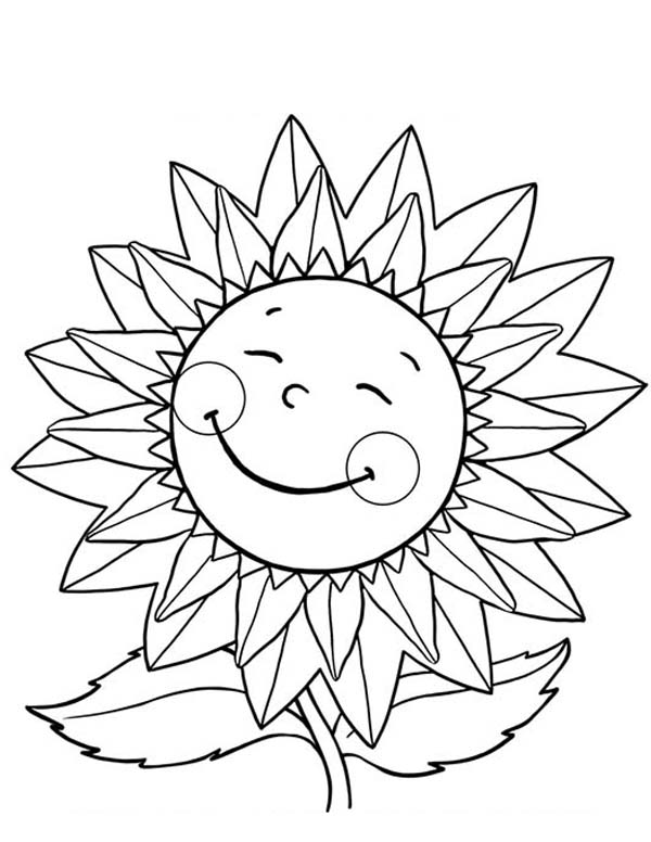 Happy Sunflower Coloring Page Download Print Online Coloring