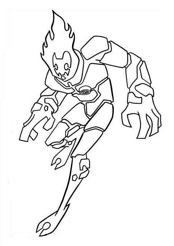 Heatblast, One of the Earliest Alien Form in Ben 10 Coloring Page ...