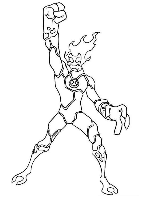 Heatblast Winning Position Coloring Page Ben 10