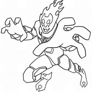 Heatblast in Ben 10 Omniverse Coloring Page