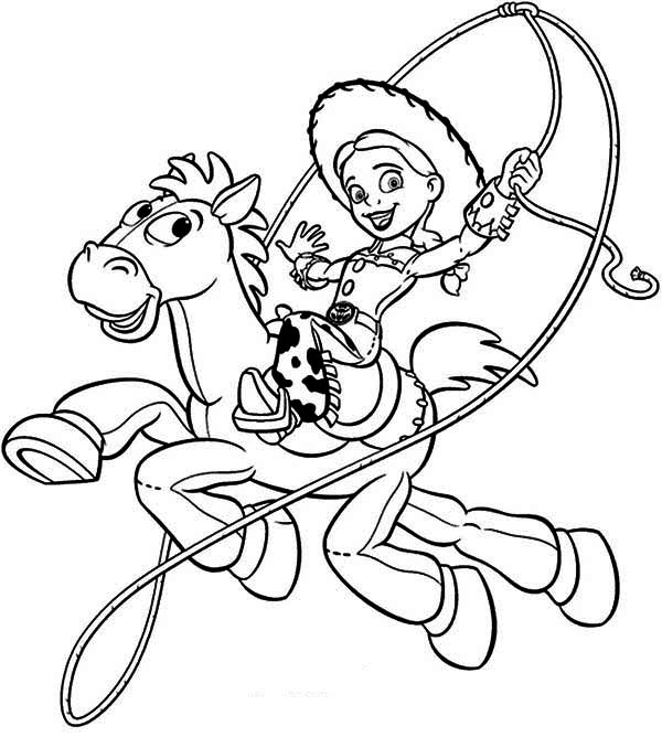 Jessie riding bullseye in toy story coloring page