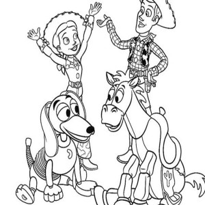 Jessie Riding Slinky Dog While Woddy  Riding Bullseye Coloring Page