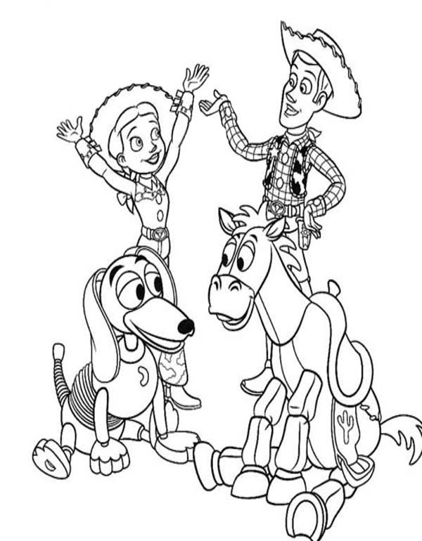 Toy Story, Jessie Riding Slinky Dog While Woddy Riding Bullseye Coloring Page: Jessie Riding