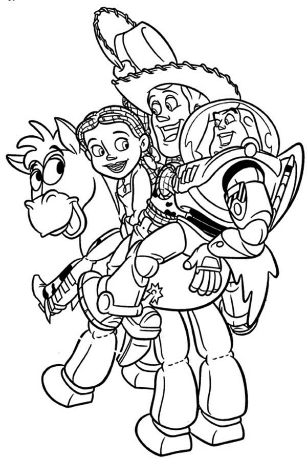 Jessie Woddy And Buzz Rides Bullseye Coloring Page