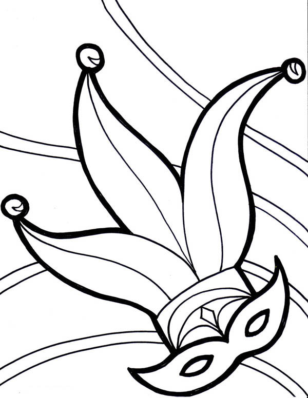 Jester Hat On Mardi Gras Festival Coloring Page