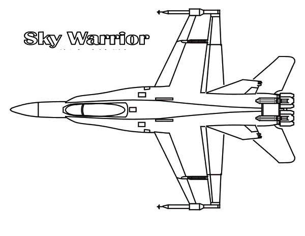 Airplane Jet Fighter Sky Warrior Interceptor Coloring Page