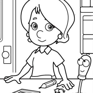 Kelly Squeeze and Felipe   Handy Manny Coloring Page