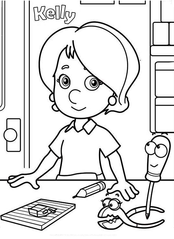 Handy Manny Kelly Squeeze And Felipe Coloring Page