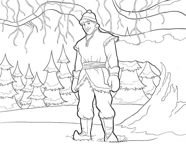 Kristoff From Disney Movie Frozen Coloring Page